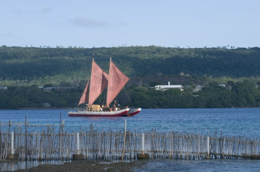 traditional sailing canoe