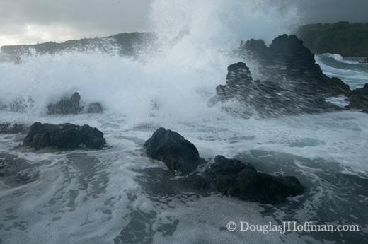 Waves crashing along the shore